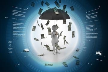 Man in money rain