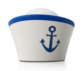 Sailor hat with anchor icon isolated on white background