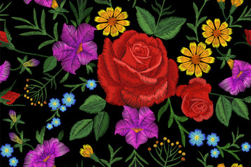 Rose flower embroidery texture seamless pattern. Red field flower herb textile print neckline traditional decoration ornate vector illustration on black background