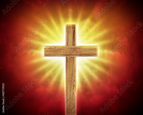 cross on the rays background, worship background