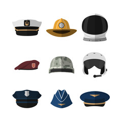 Hats and helmets. Headgear of soldier, aviator, policeman and captain. Icon of cap in flat style