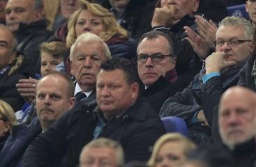 Former President of Schalke 04 Rehberg and Supervisory Board Toennies watch Bundesliga soccer match against Hertha Berlin in Gelsenkirchen