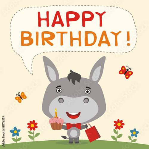 Happy Birthday Funny Donkey With Birthday Cake And Gift Birthday