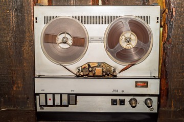 Old vintage reel tape recorder