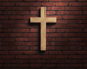 cross on the brick background, worship background