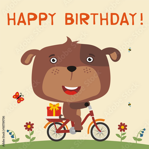 Happy Birthday Cute Puppy Dog Rides On Bike With Birthday Gift