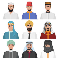 Middle Eastern Men avatar set. Arabian muslim male face collection. Vector illustration.