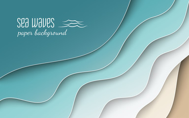 Abstract blue sea and beach summer background with curve paper wave and seacoast, cropped with clipping mask for banner, poster or web site design. Paper cut style, space for text, vector illustration