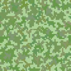 Green pixel camo background. Seamless pattern