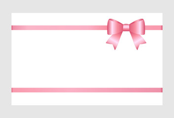 Gift Card With Pink Ribbon And A Bow Isolated on white background.  Gift Voucher Template.  Vector image.