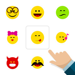 Flat Icon Face Set Of Laugh, Cheerful, Pleasant And Other Vector Objects. Also Includes Face, Whiskers, Grin Elements.
