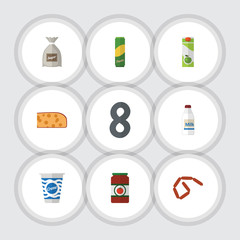 Flat Icon Meal Set Of Sack, Bratwurst, Bottle And Other Vector Objects. Also Includes Custard, Cream, Sack Elements.
