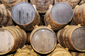 Background of old oak barrels