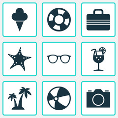 Season Icons Set. Collection Of Trees, Sea Star, Sorbet And Other Elements. Also Includes Symbols Such As Video, Baggage, Palms.