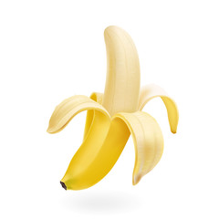 Vector half peeled Banana isolated realistic illustration