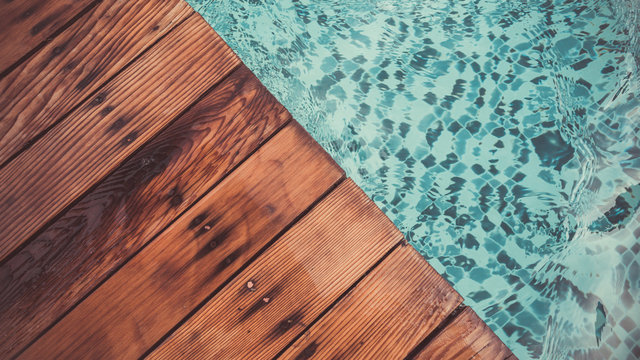 Swimming Pool And Wood Flooring