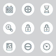 Web Icons Set. Collection Of Time, Safeguard, Calendar And Other Elements. Also Includes Symbols Such As Photo, Date, Time.