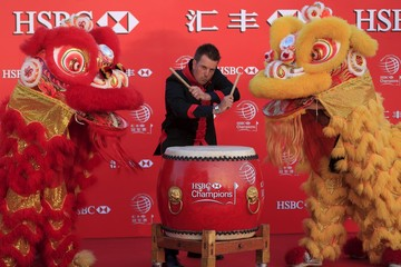 Golfer Henrik Stenson of Sweden attends a photo call for the WGC-HSBC Champions golf tournament near the Bund in Shanghai