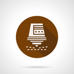 Automatic laser cutter brown round vector icon