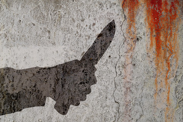 Human hand with killing knife silhouette in shadow on cement wall and blood background. Illustration for criminal news and chronicles. Wall mural
