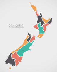 New Zealand Map with states and modern round shapes