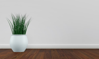 White wall interior with plant vase on dark wood floor. 3d render