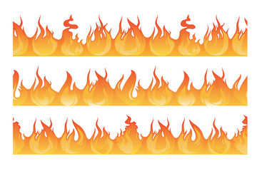 Horizontal seamless pattern of wildfire silhouette. Danger flames vector illustration