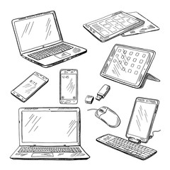 Doodle illustrations of different devices laptop, smartphone, tablet, pc and other. Vector pictures set