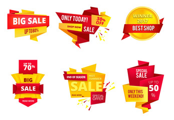 Special offer abstract banners, big sales. Shopping retail. Vector illustration set