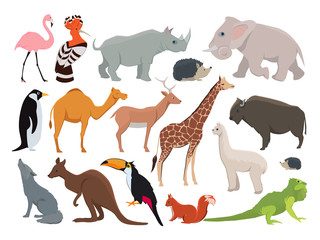 Cute wild animals in cartoon style. Vector illustration set isolate on white