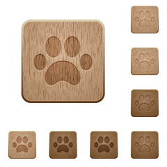 Paw prints wooden buttons