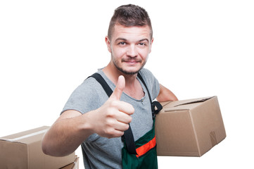Mover guy holding cardboard box showing like