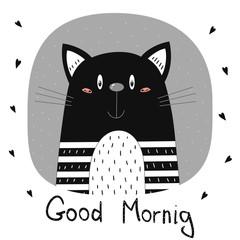 Good morning card. Hand Drawn cute Funny Cartoon vector cat print