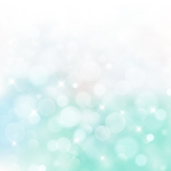 Lights on blue and green background bokeh circle bluured, Vector Illustration, Graphic Design Useful For Your Design. Bright Blue Abstract Christmas Background