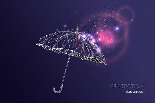 The umbrella under rain falling effect