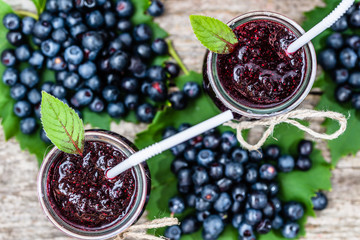 Fresh smoothie from blueberry fruits, summer drink with vitamin blended from ripe bilberry