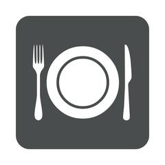Icono plano plato y cubiertos en cuadrado gris