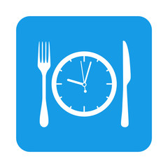 Icono plano reloj y cubiertos en cuadrado azul