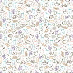 Food and drinks seamless pattern design - seamless texture with burger, drinks, bread and fruits line icons