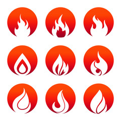 White flat fire icons in fire rounds design
