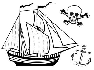 Ship, anchor and human skull