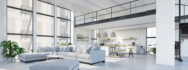 modern loft apartment. 3D rendering
