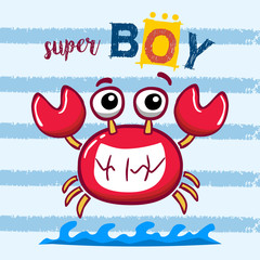 super crab. super boy. vector cartoon illustration