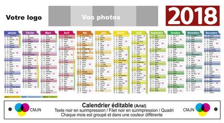 Calendrier Editable 2018-19