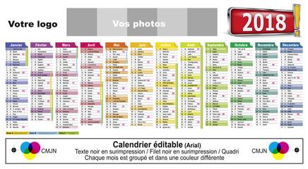 Calendrier Editable 2018-20