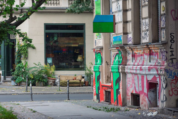 street view with graffiti in berlin