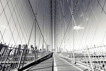 Spoed Fotobehang Brooklyn Bridge B&W Brooklyn Bridge, NYC photograph. NY landmark.