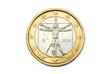 Italian coin of one euro closeup with symbol: Vitruviano man of Leonardo da Vinci from Italy. Isolated on white studio background.