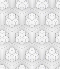 black and white ornament, background 3D geometric seamless pattern