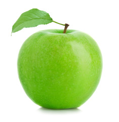 Green apple with leaf isolated on white background